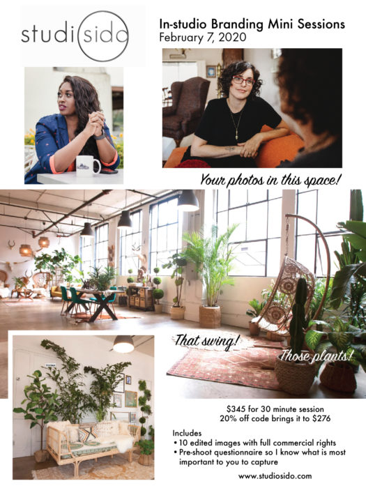 flyer design for photographer studiosido.com by diana kohne session in her beautiful warehouse space with plants and boho decor