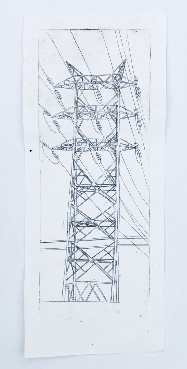 large electrical tower etching art Diana Kohne
